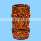 Fine porcelain ceramic tiki funny face mugs