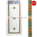 White Bath Mat With Green & Terracotta Mosaic Design And Non Slip Safety Suckers