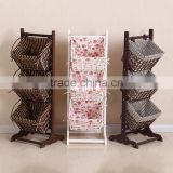 home multi-tier rattan woven storage basket book/ magazine rack
