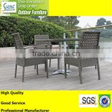 Outdoor furniture fancy weaving glass table top and stainless steel base ,garden furniture rattan dining set, table and chairs