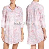 Ladies Sleep Shirt for Women Fashion Satin Cotton Solid Color Sleepwear with Short Sleeve Pajamas