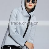 The new fashion spring autumn ladies fleece zip up plain pure color simple cotton blank hoodies for women
