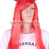 ladies Adjustable Elastic Strap Long Wavy Devil Horns Wig for halloween costume