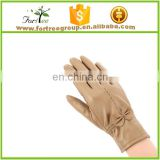 pretty bowknot brown leather winter women use glove wholesale