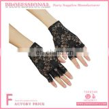 Wirst Length Fingerless Lace Gloves with Flower Pattern