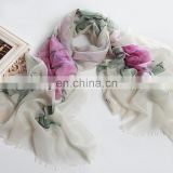 flower hand painted cashmere scarf