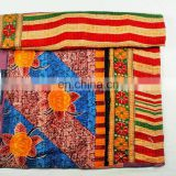 Indian Handmade 100% Cotton Reversible Kantha Blanket/Throw/Quilt/Gudari/Bedspread