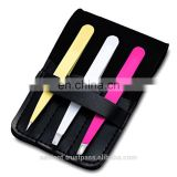 3pcs Professional Eyebrow Tweezers Hair Beauty Hair Removal Face Kit Pouch