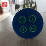 Custom tempered 3mm blue color silk screen printed round touch button glass panel