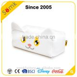 Fancy popular elegant animal design white cat shape tissue box cover for car