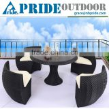 New Design Leisure PE Wicker Dinette Rattan Sofa For Garden Cheap Round Rattan Sofa Set                                                                         Quality Choice
