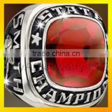 Red Zircon Set Brass with Rhodium Plated Championship Rings