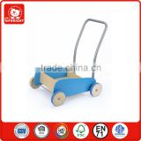 blue colour hotsale ASTM kid education toy stroller mini wooden baby walker outdoor sports rolling wholesale baby walker ride on
