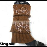 Tredny 2014 winter knitted boot cuffs leg warmers with button