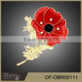 Explosion Poppy Flower Brooch Fashion Oil Painting Gold Brooch Lotus Crystal Brooch                                                                         Quality Choice