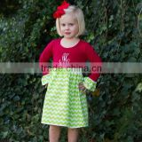The newest 2015 ruffle girls dress long sleeve christmas dress Lovely children ruffle dress for little girls