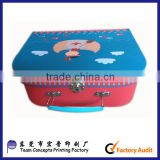 Custom Paper suitcase box with color painted metal handle