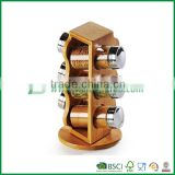 6 slots bamboo tea canister with transparent cover stainless steel hinge, tea storage box