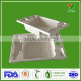 Design OEM biodegradable packaging container sugercane fiber design waterproof paper tray free samples