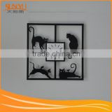 New fashion customizable four cats black quadrate acrylic wall clock                                                                         Quality Choice