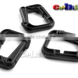 D-Ring Carabiner Multi-use Safety Buckle Black Plastic For Bag Paracord Clasp Keychain Outdoor Activities #FLC164-B