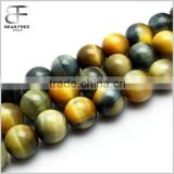 Gorgeous Natural Gold Grey Tiger's Eye Gemstone Faceted Round Loose Beads Strand for Jewelry Making DIY