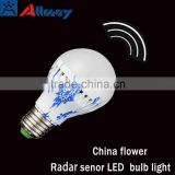 Radar motion sensor LED bulbs light china flower 7w popular in south America moving detector