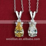 ew products fashion silver jewelry yellow gemstone pendant necklace solid 925 silver pendants