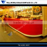 2014 modern popular luxury boat shape artificial marble restaurant bar counter furniture for sale