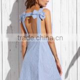 Dresses latest women girl design fashion photos Blue Stripe Bow Open Back Sleeveless A-line Dress