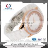 Hot Selling Fashion lady wrist watch, white ceramic waterproof quartz chronograph watches