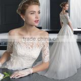 2016 Europe new summer long lace fashion White sleeves off shoulder bride wedding dress DH--556