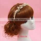 Luxury Stunning Pearls Gold Clear Wedding Tiara Bridal Crown Hair accessories
