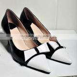 New fashion genuine leather dress shoes high heel shoes black & white pointed toe bow fashion pumps CP6671