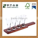 wholesale FSC&BSCI painted pine wooden beer wine glass tasting serving tray holder for bar