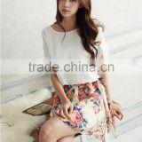Woman Dress Women's Charming Summer Crewneck Chiffon Short Sleeve Floral Casual Girls' Dress Baby Dress