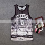 all over sublimation printed mens tank top