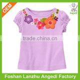 OEM eco-friendly soft kids organic cotton t shirt with ruffle/cap sleeve and water base printing