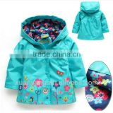 New 2015 Topolino girls coats and jackets trench coat for girl hood kids trench coat pattern spring girl's jacket blue