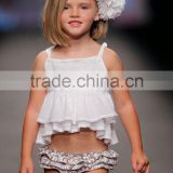 Custom newborn baby clothing baby girls fashion cotton braces ruffle skirt for children suit