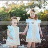 2017 Boutique Girl Clothing Baby Kids Princess Blue Lace Cap Sleeve Cotton Dress