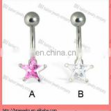 Belly button ring with star shaped stone with cheap price body piercing jewelry ring