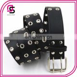 China factory customize wholesale women trendy pu leather double eyelets belt