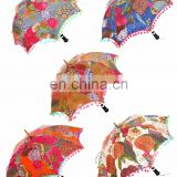 Umbrella Ethnic Handmade Protector Parasol Indian Fruit Printed Kantha Work Embroidered Sun Unisex Cotton Vintage Decor Umbrella