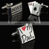 HOT Stainless Steel Silver Vintage Men's Wedding Poker Cufflinks Cuff Links Gift