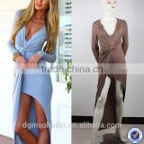 OEM service knot front summer jersey women fashion dress long sleeve style maxi dress design with side shrring                                                                                         Most Popular