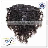 Hot selling 100% human hair afro kinky curly clip in hair extension brazilian deep wave hair