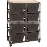 1950 style Vintage Drawer with antique cart wheels, Industrial European style Storage cum Racks, Rustic Finish 8-Drawer