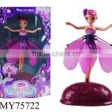 Motion sensor helicopter toy flying fairy doll with light and music rc fairy