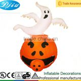 DJ-XT-56 halloween airblown inflatable lights up pumpkin and ghost onside halloween decoration
